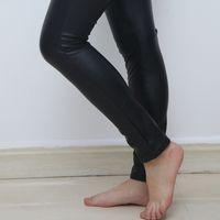wholesale leather leggins Australia - 2017 Fashion Thick High waist PU leggings in women's leggings Plus size girl black womans leggins trousers women bottom legging