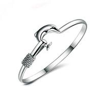 noble joyería de moda 925 al por mayor-925 brazalete de plata del encanto Fine Noble mesh Dolphin pulsera de la joyería de moda GA150