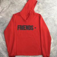 hoodie kırmızı adam toptan satış-Yeni Kırmızı Hoodie Erkekler Kadınlar 1a: 1 Yüksek Sokak Casual FRIENDS Tişörtü Kazak Hip Hop Çin Ejderha