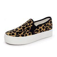 резиновые сапоги оптовых-Leopard Print Slip On Women Плоские Туфли Дышащий Leopard Резинка Женская Обувь Модельер Леди Повседневная Плоские Туфли Кроссовки