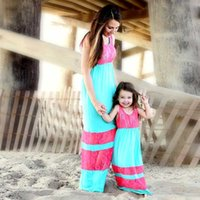Wholesale mom girl matching clothes resale online - Mother And Daughter Bohemia Dress Family Matching Girls Lady Lace Long Black Dresses Mom And Me Cotton Family Matching Clothes