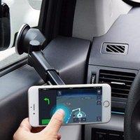 iphone için emiş aparatı toptan satış-Evrensel 2 in1 Araba Manyetik Cep Telefonu Standı Vantuz Tutucu Esnek Geri Çekilebilir Montaj iphone Samsung Xiaomi için Standı