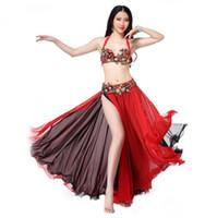 zeige bauchtanz kostüme großhandel-3 Stück Stickerei Bauchtanz Kostüm Sexy Frauen Dance Performance Show Wear BH Gürtel langen Rock rot