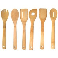 Wholesale Kitchen Utensils Bamboo - 6pcs Free Shipping !!!Protable Bamboo Wooden Utensil Kitchen Cooking Spoon Spatula Mixing Wood Tools New