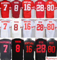 Wholesale Rice Toppings - Stitched 7 Colin Kaepernick 8 Steve Young 16 Joe Montana 28 Carlos Hyde 80 Jerry Rice White Red Black Top Quality Free Shipping