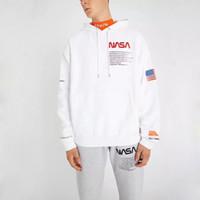 hip hop kleidung mit kapuze großhandel-18FW HERON PRESTON NASA Hoodies Vintage Schwarz Weiß Neue Oberbekleidung Sweatshirts Mode Für Männer Kleidung Hip Hop Mit Kapuze Hoodies HFLSWY156