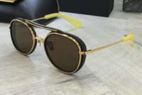 mens óculos de sol amarelo venda por atacado-Mens piloto óculos de sol preto / amarelo ouro lente marrom Sonnenbrille Designer de luxo óculos de sol óculos tons unisex novo com caixa