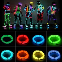 Wholesale wholesale el wire - 5m Flexible Neon Light EL Wire Christmas Lighting Neon Rope Strobe Glow Strip Light Flashing for Car Bicycle Party + Battery Case Controller