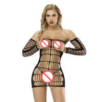 lingerie en nylon achat en gros de-Combinaison Sexy sans manches Bodyshock Transparent Sous-Vêtements Body de Nuisette Ouvert Crotch Vêtements de Nuit Crotchless Nightwear Pyjamas Lingerie Erotica