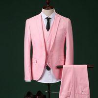 erkekler için pembe smokinler toptan satış-2018 Erkekler Slim Fit Ile Pembe Takım Düğün Damat Erkek Balo Suits Pantolon Parti Yemeği Smokin Erkekler Için (ceket + Pantolon + + yelek + kravat)