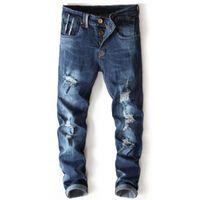 jeans vintage lavados azules para hombres al por mayor-Diseño Retro Hombres Jeans Vintage Wash Frayed Ripped Jeans Hombres Alta calidad Straight Biker Jeans, Denim Pants Designer Blue