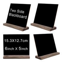 ingrosso segni di nozze della lavagna-Mini Double Side Chalkboard Signs Base in legno di stile vintage Stand Buffet Bar Display messaggi Segni novità decorativa decorativa in stile rustico