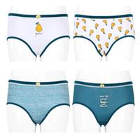 Wholesale Cartoon Woman Panties - 4Pc Women Grils Cute Cartoon Pear Print Bowknot Cotton Blend Panties Underwear