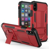 Wholesale Rear Light Covers - Shockproof Armor Rear cover Newest Case With Skickstand TPU PC For Iphone X 8 6 plus 7plus Samsung S8 LG Aristo 2 ZTE max pro OPPBAG