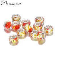 Wholesale plastic oval beads - 2018 Acrylic Spacer Orange Beads For beads DIY jewelry making fit European Bracelet Necklace Big Hole Charm Beads XZ244