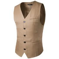 Wholesale Small Waistcoat - Hot Sale 2018 Brand New Autumn Men's Slim Fit Dress Suit Vest Waistcoats solid-colored small coat Men's size vest
