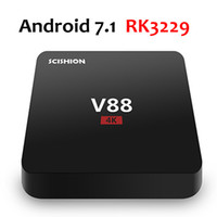 Wholesale Usb 1g - V88 4K Android 7.1 TV Box Rockchip RK3229 1G 8G 4 USB 4K x 2K H.265 10-bit 60fps WiFi Full Loaded Quad Core 1.5GHZ Media Player