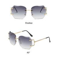 gafas estilo rana al por mayor-2018 gafas de sol de moda estilo moda estrella gradiente de las mujeres gafas de sol sin marco cosecha grande rana de sol gafas de sol 27 unids