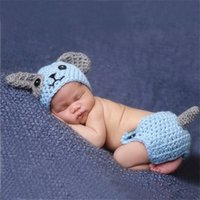 Wholesale new arrival photography props resale online - New Arrival Big Ear Dog Design Infant Baby Unisex Crochet Animal Costume Photo Props Knitted Boy Girls Animal Outfits Photography Props