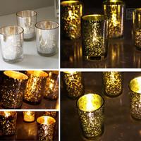 ingrosso candelabri in argento placcato-Piccola tazza di vetro candeliere placcato oro argento titolare di candela verde festa nuziale compleanno bar decorazione della casa NON CON CANDELA WX9-314