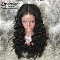 Wholesale light brown hair ponytail online - Premier Lace Wigs Indian Remy Hair Wigs Loose Wave Ponytail Pre plucked Bleach Knots Density Deep Lace Parting Human Lace Wigs