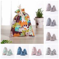 Wholesale floral gift wrap - 3Pcs set Drawstring Bundle Bags Package Wrap Storage Bag Linen Cotton Container Party Favor Gift Bag Multi Styles NNA416