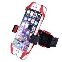 soporte para dispositivo móvil al por mayor-Soporte para teléfono de bicicleta Soporte para teléfono con manillar para motocicleta con soporte de silicona Adecuado para dispositivos Android iPhone / Samsung