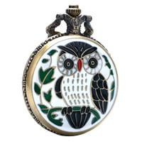Wholesale enamel pocket watches - 2018 Dropshipping Hot Sale White Enamel Eagle Design Bronze Quartz Pocket Watch for Unisex Gift Vintage Fob Watch with Pendant