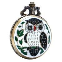 reloj de cuarzo de diseño vintage al por mayor-2018 Dropshipping Venta caliente White Enamel Eagle Design Reloj de bolsillo de cuarzo de bronce para regalo unisex Reloj de pulsera vintage con colgante