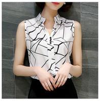 Wholesale Korean Womens Fashion Blouses - Blusas Korean Fashion Clothing 2016 Summer Womens Sleeveless White Chiffon Blouse Shirt Ladies Tops V-Neck Female Plus Size