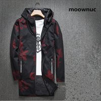 Wholesale trench coats windbreakers - 2018 New Style men's Fashion Printed Hooded windbreakers Autumn coats Men Jackets casual Man trench coat Homme full Size M-4XL