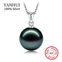 Wholesale Solid Platinum Necklace - BIG 90% OFF!! original Flawless Black Pearl Pendant Necklace With Solid 925 Silver Chain Necklace Wedding Jewelry for Women N001