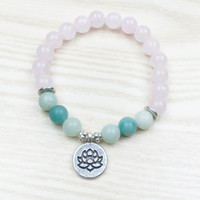 Wholesale Aquamarine Stone Jewelry - SN1031 Trendy Lotus Women`s Bracelet Nature Stone Jewelry Aquamarine Bracelet Top Quality Rose Quartz Yoga Jewelry Healing Bracelet