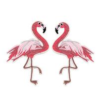 parches bordados de niños al por mayor-Flamingo parche bordado de hierro en parches de tela ropa de los niños accesorios insignia de tela pegatina bolsa Denim Jeans agujeros decoración