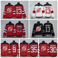 Wholesale 13 Flag - Nico Hischier Jersey 13 Ice Hockey 100th Anniversary USA Flag New Jersey Devils Jerseys 9 Taylor Hall 30 Martin Brodeur 35 Cory Schneider