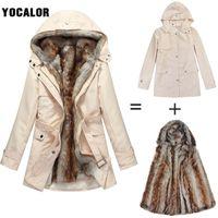 Wholesale Korean Winter Wear Women - 3xl Female Plus Size Winter Women's Fur Hood Coats Jacket Women Korean Long Loose Warm Cotton-padded Parka Outerwear Snow Wear