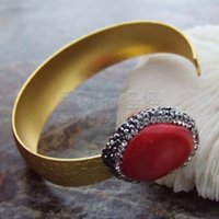 brazalete amarillo al por mayor-B041527 Coral rojo 24 K brazalete plateado oro amarillo