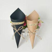 fiestas de crema negro al por mayor-Creativo Marrón Negro DIY Favores de la boda Conos de Papel Kraft Cajas de Dulces Conos de Helado Caja de Regalo Caja de Regalo QW8180