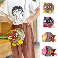 ingrosso principessa cartoon delle ragazze coreane-Borse dei progettisti dei bambini Moda coreano Mini principessa borse Bambini Cartoon gufo Sacchetti circolari di pesce Ragazze borse a tracolla inclinato Regali di Natale