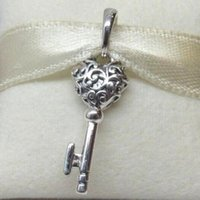 Wholesale pandora key heart resale online - 100 Authentic S925 Sterling Silver REGAL KEY PENDANT Dangle Charm Bead Fits European Pandora Jewelry Bracelets Necklaces