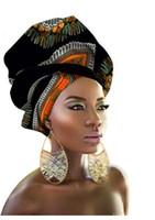 mantón africano al por mayor-2018 Nuevo estilo de diseño Pañuelo de cabeza Pañuelo largo para la cabeza Tapa para mujer Turban shawl Warp Hair African Headwrap Q039 * nuevo *