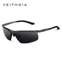 gafas veithdia al por mayor-Veithdia Marca Alumunum Men 'S polarizados UV400 gafas de sol sin montura del espejo rectangular para hombre Gafas de sol Gafas para los hombres 6501