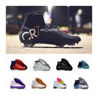 botas blancas de fútbol cr7 al por mayor-Zapatos de fútbol 100% original Rainbow rojo rojo CR7 Mercurial Superfly V FG Botines de fútbol Botas de fútbol de tobillo altas Zapatillas Ronaldo Sports