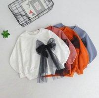 Wholesale Princess Sweatshirts - 2018 Spring new children sweatshirt girls lace gauze Bows princess tops kids round collar lantern sleeve pullover fashion girl jumper R2527