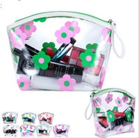 Wholesale Transparent Fabric Wholesale - Women Travel PVC Cosmetic Bags Transparent Flower Zipper Waterproof Wash Bags Makeup Organizer Storage Bag LJJK942