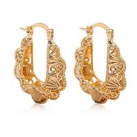 Wholesale flower shaped hoop earrings - Wholesale- Women Girls Fashion U Shape Alloy Hollow Flower Filigree Tribal Hoop Dangle Drop Earrings Jewelry Accessories ER010