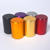 mini caja de té al por mayor-Caja de la lata del té portátil Mini caja de almacenamiento del caramelo del metal Cajas de columna redonda Carry Case Jar herramienta de cocina color puro 5sy bb