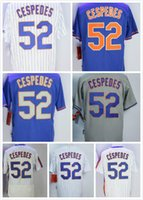Wholesale Base Number - New York Baseball Jerseys 52 Yoenis Cespedes Stitched name number home Away Blue white Flex Base Jersey Grey Cool Base free shipping