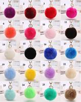 anahtarlıklar için bilyalı zincirler toptan satış-100 adet / grup Dim 8 CM Toptan 29 Renkler Hakiki Tavşan Kürk topu Peluş Anahtar Zincirleri Araba Anahtarlık Çanta Kolye Anahtarlıklar Moda Aksesuarları
