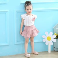 Wholesale Cute Short Pants For Girls - Wholesale Summer Girl Clothing Sets White T-Shirt Short Sleeve O-neck Top Pink Pants Casual Children Clothing Set For 2-6Year Girl Dress